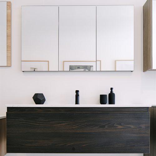 1200 dark timber wall hung vanity