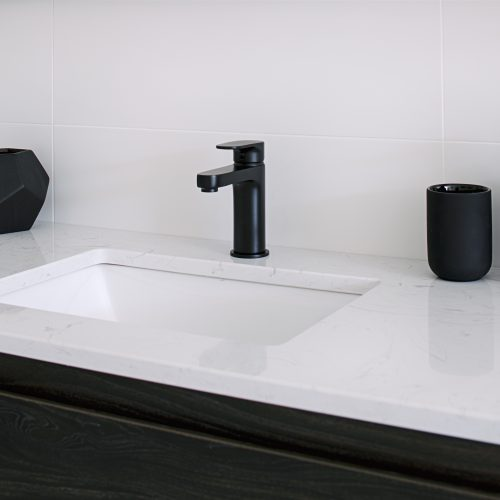 Wall hung vanity with stone inset basin